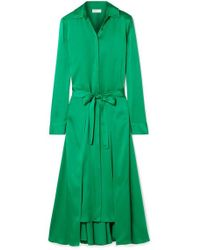 Rosetta Getty - Apron Wrap-effect Satin Midi Dress - Lyst