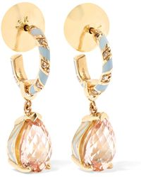 Alice Cicolini - Candy Pave 14-karat Gold, Enamel And Multi-stone Hoop Earrings - Lyst