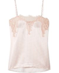 Cami NYC - The Sweetheart Lace-trimmed Gingham Silk-charmeuse Camisole - Lyst