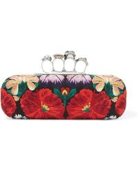 Alexander McQueen - Knuckle Embellished Canvas Clutch - Lyst