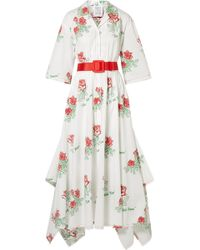 Rosie Assoulin - Waiting For Godet Belted Coated Cotton-blend Poplin Maxi Dress - Lyst