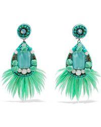 Ranjana Khan - Jae Feather And Crystal Clip Earrings - Lyst