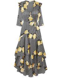 Ganni - Asymmetric Tiered Silk-blend Wrap Dress - Lyst