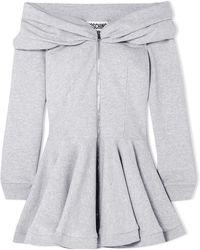 Moschino - Off-the-shoulder Cotton-jersey Peplum Mini Dress - Lyst