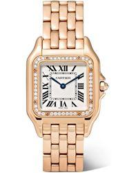 Cartier - Panthère De Medium 27mm 18-karat Pink Gold And Diamond Watch - Lyst