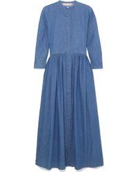 Brock Collection - Disco Pleated Denim Midi Dress - Lyst