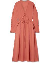 Bottega Veneta - Ruffled Silk-georgette Midi Dress - Lyst