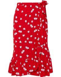 Miu Miu - Ruffled Printed Crepe Wrap Skirt - Lyst