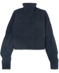 T By Alexander Wang - Cropped Wool-blend Turtleneck Jumper - Lyst
