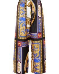 Versace - Cropped Printed Silk-twill Wide-leg Trousers - Lyst