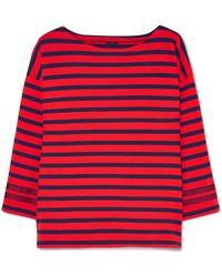 J.Crew - Grosgrain-trimmed Striped Cotton-jersey Top - Lyst