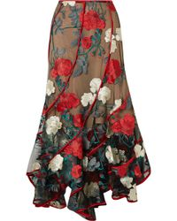 Costarellos - Embroidered Tulle Midi Skirt Red Fr40 - Lyst