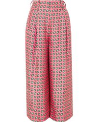 Etro - Printed Cropped Silk-twill Wide-leg Pants - Lyst