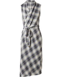 Vince - Plaid Cotton-blend Wrap Midi Dress - Lyst