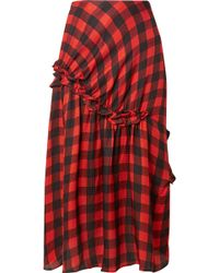 Preen By Thornton Bregazzi - Adrienne Ruffled Checked Silk-jacquard Midi Skirt - Lyst