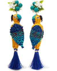 Mercedes Salazar - Tropic Parrot Gold-tone, Woven And Tasselled Clip Earrings - Lyst