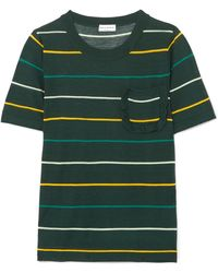 Sonia Rykiel | Ruffle-trimmed Striped Silk And Cotton-blend Top | Lyst