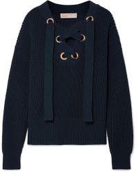 MICHAEL Michael Kors - Lace-up Cotton-blend Sweater - Lyst