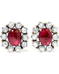 18-karat Gold, Sterling Silver, Ruby And Diamond Earrings - Anthracite Amrapali