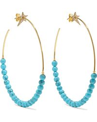 Diane Kordas - Star 18-karat Gold, Diamond And Turquoise Hoop Earrings - Lyst