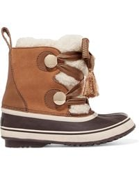 Chloé - Sorel Crosta Leather-trimmed Suede And Shearling Boots - Lyst