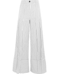 TOME - Pleated Striped Cotton Wide-leg Trousers - Lyst