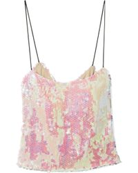 Sandy Liang - Scales Sequined Chiffon Camisole - Lyst