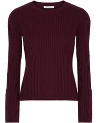 T By Alexander Wang - Ribbed Merino Wool-blend Jumper - Lyst