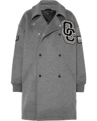 Opening Ceremony - Oversized Appliquéd Brushed Wool-blend Coat - Lyst