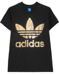 Adidas Originals   Metallic Printed Cotton-jersey T-shirt   Lyst
