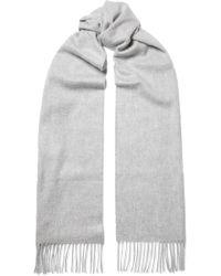 Johnstons - Grey Cashmere Plain Scarf - Lyst