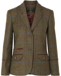 James Purdey & Sons - Alcantara-trimmed Checked Wool-tweed Blazer - Lyst