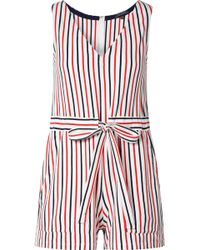 06527b41c152 MDS Stripes - Amanda Striped Cotton-jersey Playsuit - Lyst