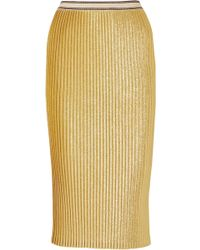 By Malene Birger - Susianna Plissé Glittered Stretch-knit Midi Skirt - Lyst