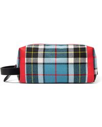 Burberry - Leather-trimmed Tartan Cotton-canvas Clutch - Lyst