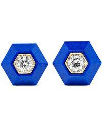 Fred Leighton - Collection 18-karat White Gold, Lapis Lazuli And Diamond Earrings - Lyst