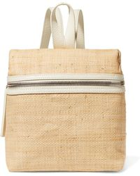 Kara - Small Textured Leather-trimmed Straw Backpack - Lyst
