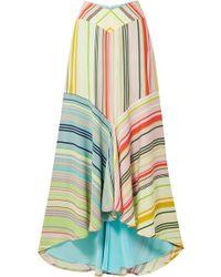 Silvia Tcherassi Beverly Striped Crepe De Chine Maxi Skirt - Green