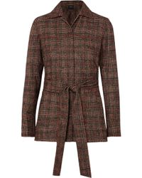 Akris - Belted Checked Wool Jacket - Lyst