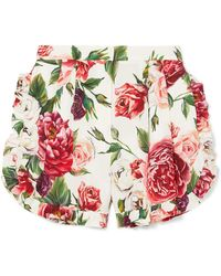 Dolce & Gabbana - Ruffled Floral-print Silk-blend Shorts - Lyst