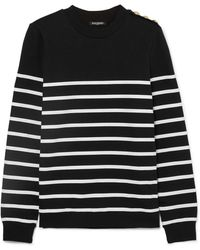 Balmain - Button-embellished Striped Cotton-jersey Top - Lyst