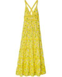 Alice + Olivia - Karolina Crochet-trimmed Floral-print Chiffon Maxi Dress - Lyst