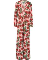 Adriana Degreas - Fiore Floral Deep V-neck Jumpsuit - Lyst