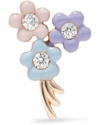 Alison Lou - Daisy Bouquet 14-karat Gold, Diamond And Enamel Earring - Lyst