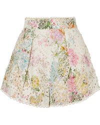 Zimmermann - Heathers Floral-print Broderie Anglaise Cotton Shorts - Lyst