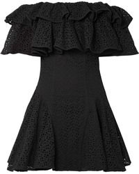House of Holland | Off-the-shoulder Ruffled Broderie Anglaise Mini Dress | Lyst