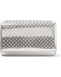 Christian Louboutin - Paloma Spiked Metallic Lizard-effect Leather Clutch - Lyst