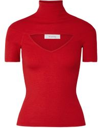 Beaufille - Zinner Cutout Ribbed Stretch-knit Turtleneck Top - Lyst