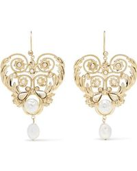 Etro Gold-tone, Crystal And Faux Pearl Earrings - Metallic