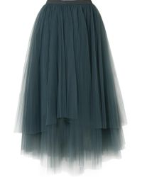 Brunello Cucinelli - Embellished Layered Tulle Midi Skirt - Lyst